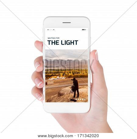 woman using her smartphone searching Photographer waiting for the light and taking photograph information. Himalayan range Leh Ladakh India. Traveling concept isolated on white background.