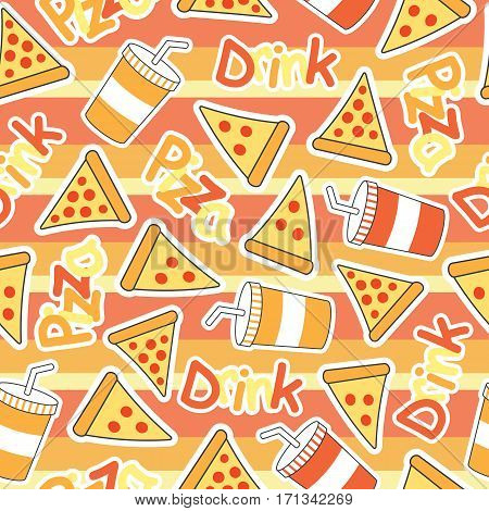 Cute Pizza Seamless pattern with soft drinks on stripes background suitable for kid wallpaper, scrap paper and fabric