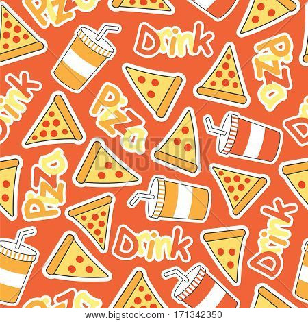 Cute Pizza Seamless pattern with soft drinks suitable for kid wallpaper, scrap paper and fabric