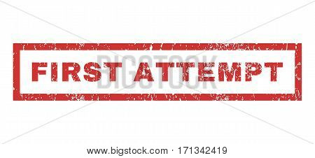 First Attempt text rubber seal stamp watermark. Tag inside rectangular banner with grunge design and dirty texture. Horizontal vector red ink emblem on a white background.