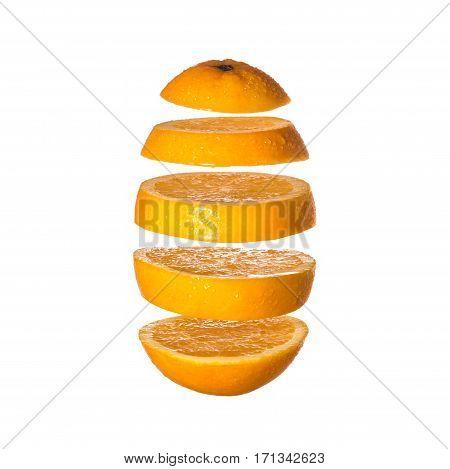 Flying orange. Sliced orange isolated on white background. Levity fruit floating in the air.