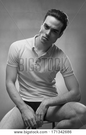 Young Man Handsome Posing, Strong Jawline