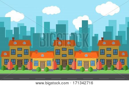 Vector city with five cartoon houses and buildings. City space with road on flat style background concept. Summer urban landscape. Street view with cityscape on a background