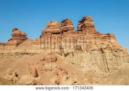 Charyn Canyon In Kazakhstan. The Valley Of Castles