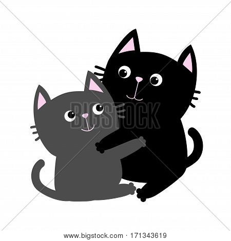 Black Gray Cat hugging family couple. Hug embrace cuddle. Happy Valentines day Greeting card. Cute funny cartoon character. Kitty Whisker Baby pet White background. Isolated. Flat design Vector