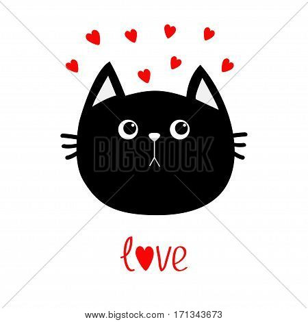 Black cat head icon. Red heart set. Cute funny cartoon character. Valentines day Word love Greeting card. Sad emotion. Kitty Whisker Baby pet collection. White background. Isolated. Flat design Vector