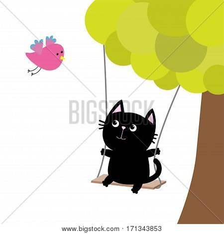 Cat ride on the swing. Green tree. Flying pink bird. Cute fat cartoon character. Kawaii baby pet collection. Love card. Flat design. Funny kids style. White background. Isolated. Vector illustration