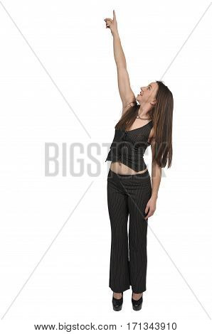 Beautiful woman pointing up at the sky