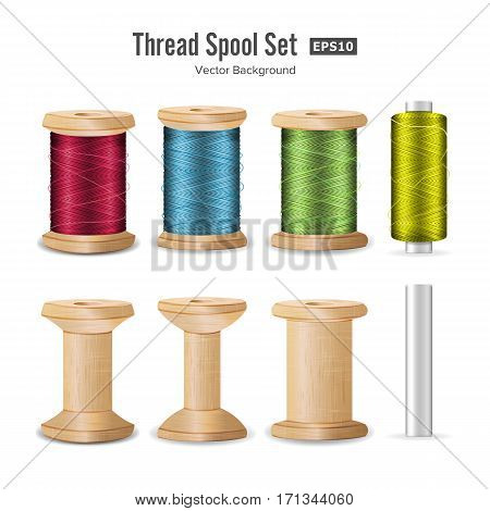 Thread Spool Set. Bright Plastic And Wooden Bobbin. Isolated On White Background For Needlework And Needlecraft