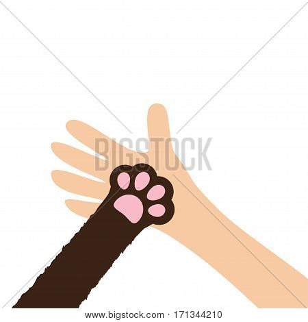 Hand arm holding cat dog paw print leg foot. Help adopt animal pet donate concept. Close up Friends forever. Veterinarian care. Veterinary vet doctor Flat White background Isolated Vector illustration