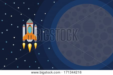 The rocket in space near the planet. Space travel. Vector illustration with flying rocket.