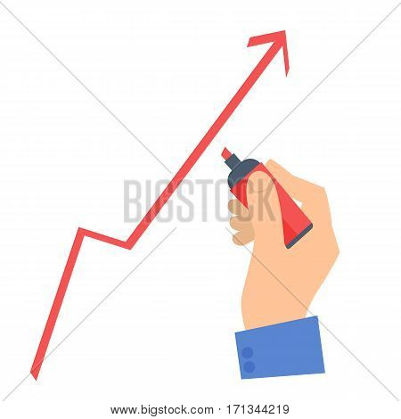 Businessman's hand with a pen drawing a growth arrow to improve business. Flat concept illustration of hand marker increase graph diagram. Isolated vector infographic element for web presentation.