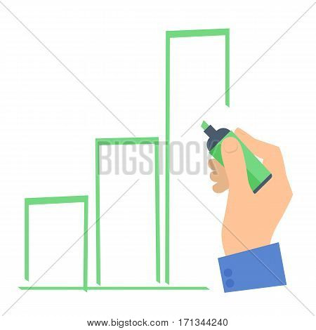 Businessman's hand with a pen drawing a growth column chart to improve business. Flat concept illustration of hand marker increase graph diagram. Isolated vector infographic element for presentation