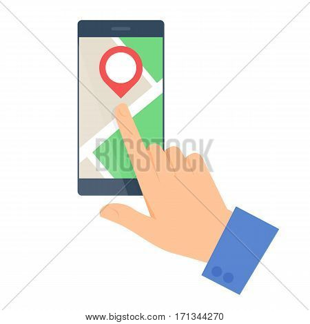 Business people travel concept. Flat vector illustration of a human hand and a map on a mobile phone screen. Man and pointer are pointing a place. Infographic elements isolated on white background.