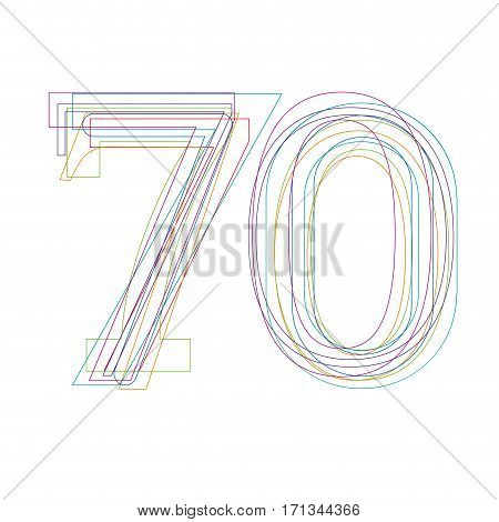 number 70 in outline, isolated on white