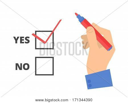 Human hand write yes vote with pen on a voting paper. Flat concept illustration of man's hand red pen ballot paper check sign. Isolated vector infographic element for web presentation brochures.