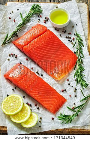 Salted Salmon Fish Fillet With Fresh Rosemary