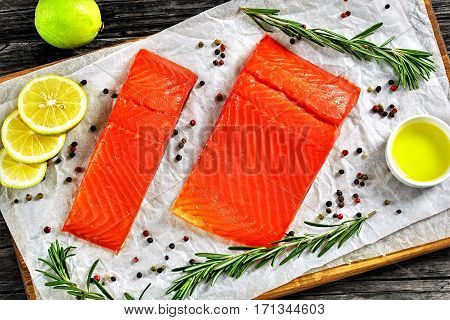 Salmon Fillet With Fresh Rosemary, Mix Of Pepper