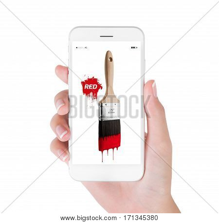 Woman using smart phone searching paintbrush loaded red color dripping off bristles. Art and Design concept isolated white background.