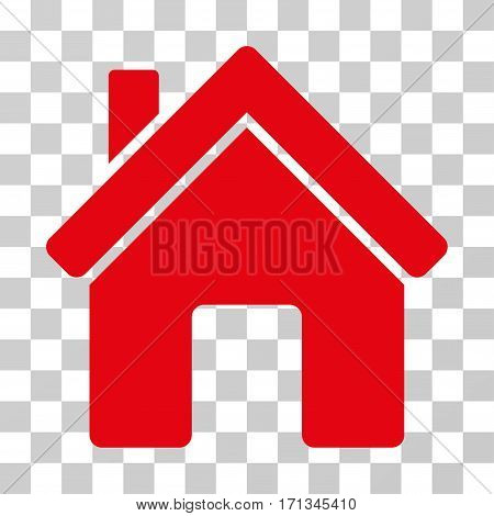 House icon. Vector illustration style is flat iconic symbol red color transparent background. Designed for web and software interfaces.