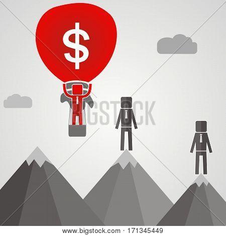 businessman flies on a ballon with money