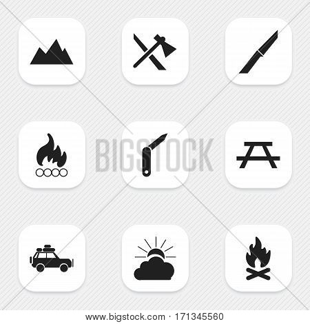 Set Of 9 Editable Camping Icons. Includes Symbols Such As Knife, Fever, Peak And More. Can Be Used For Web, Mobile, UI And Infographic Design.