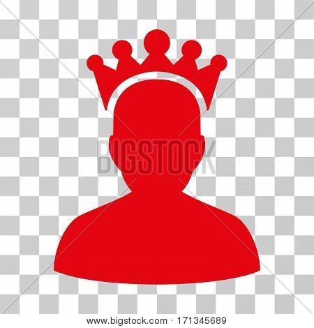 King icon. Vector illustration style is flat iconic symbol red color transparent background. Designed for web and software interfaces.