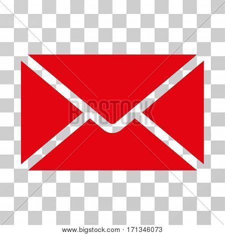 Mail Envelope icon. Vector illustration style is flat iconic symbol red color transparent background. Designed for web and software interfaces.