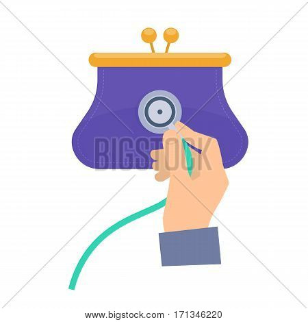 Consultant using a stethoscope on a purse. Flat vector concept illustration of businessman hand with stethoscope man check a business health. Infographic elements for web presentation brochure.