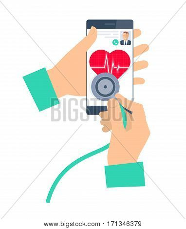 Doctor using a stethoscope on a phone. Telemedicine and telehealth flat vector concept illustration. Hand stethoscope smartphone heart with pulse. For tele and remote medicine health infographic.