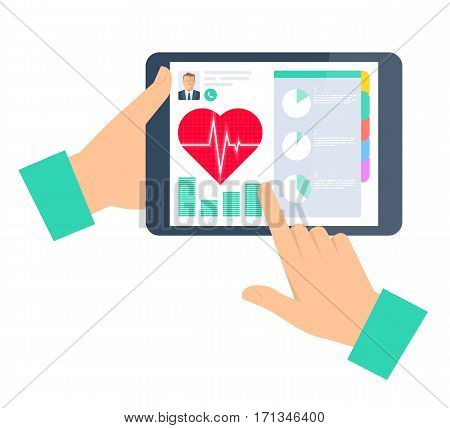 Doctor advises a patient on a tablet computer. Telemedicine and telehealth flat concept illustration. Hand tablet heart with pulse on a display. Tele and remote medicine vector element infographic.