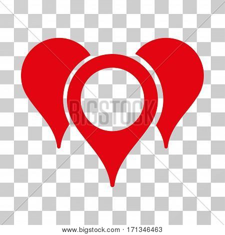 Map Pointers icon. Vector illustration style is flat iconic symbol red color transparent background. Designed for web and software interfaces.