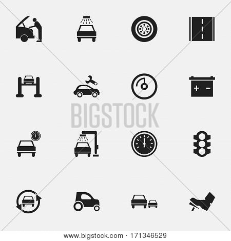 Set Of 16 Editable Transport Icons. Includes Symbols Such As Stoplight, Tire, Race And More. Can Be Used For Web, Mobile, UI And Infographic Design.