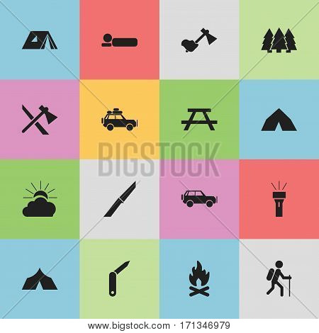 Set Of 16 Editable Trip Icons. Includes Symbols Such As Lantern, Knife, Tomahawk And More. Can Be Used For Web, Mobile, UI And Infographic Design.