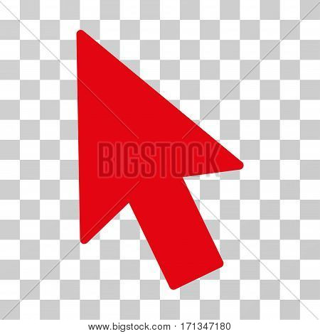 Mouse Cursor icon. Vector illustration style is flat iconic symbol red color transparent background. Designed for web and software interfaces.