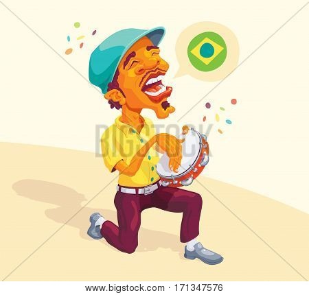 Brazilian Tambourine Player - Brazilian smart guy singing and playing samba in the tambourine