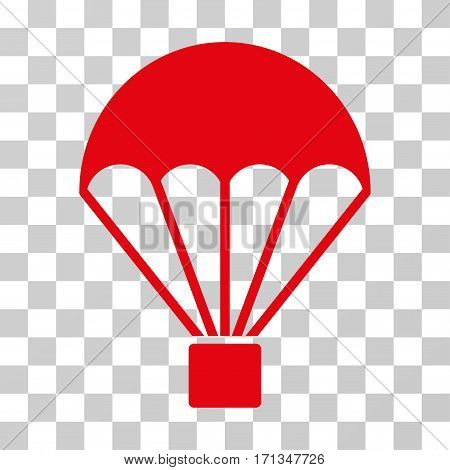 Parachute icon. Vector illustration style is flat iconic symbol red color transparent background. Designed for web and software interfaces.