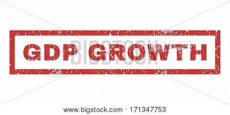 GDP Growth text rubber seal stamp watermark. Tag inside rectangular banner with grunge design and scratched texture. Horizontal vector red ink sign on a white background.