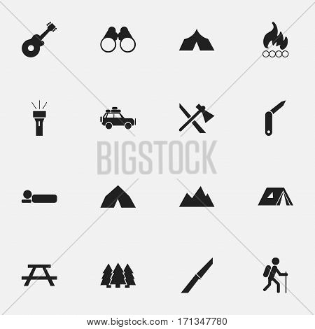Set Of 16 Editable Camping Icons. Includes Symbols Such As Knife, Voyage Car, Clasp-Knife And More. Can Be Used For Web, Mobile, UI And Infographic Design.