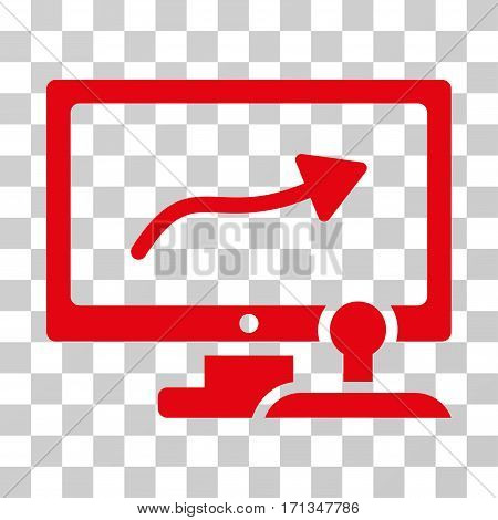 Path Control Monitor icon. Vector illustration style is flat iconic symbol red color transparent background. Designed for web and software interfaces.