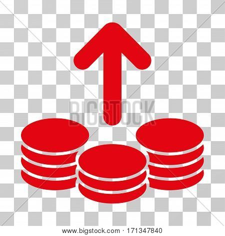 Payout Coins icon. Vector illustration style is flat iconic symbol red color transparent background. Designed for web and software interfaces.