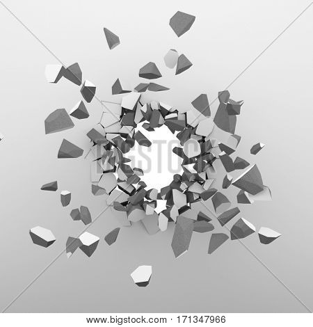 Breaking through the white wall background. 3D rendering.
