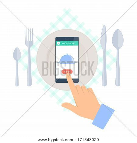 Man is ordering meal in restaurant by phone. Flat vector concept illustration of hand kitchen utensils smartphone with dish icon and order button. Food online delivery design and infographic element