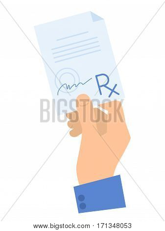 Hand holding a prescription. Medicine and healthcare flat concept illustration. Human hand rx document prescription with doctor signature. Vector element for medical infographic for web presentation