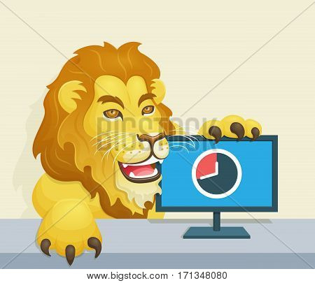 The lion - Brazilian Famous Income Tax Concept  Lion beside monitor representing the deadline for income tax declaration