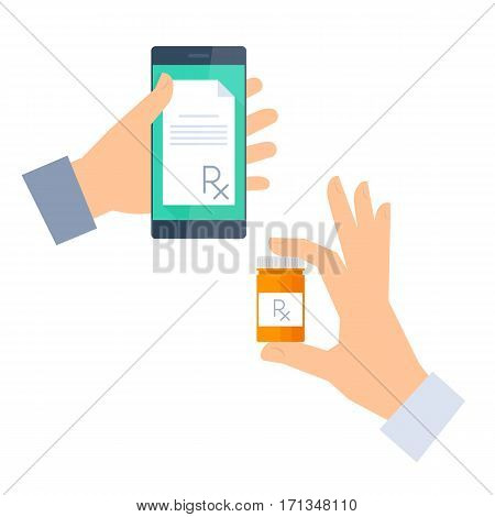 Patient gets prescription by phone and buys drugs. Telemedicine and telehealth vector flat concept illustration. One hand holding a phone with rx prescription another holding container with cure.