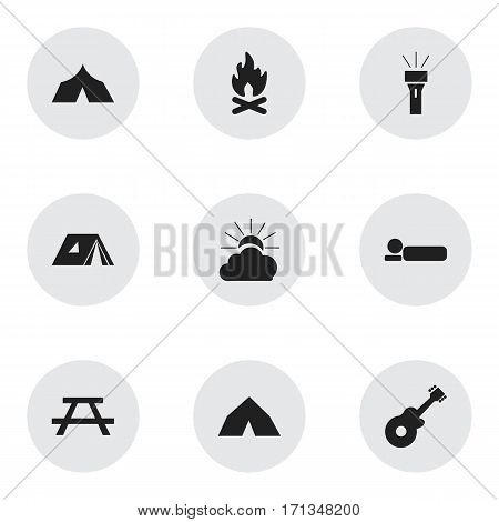 Set Of 9 Editable Trip Icons. Includes Symbols Such As Musical Instrument, Shelter, Refuge And More. Can Be Used For Web, Mobile, UI And Infographic Design.