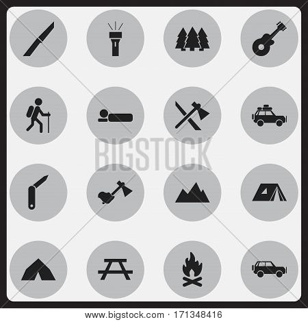 Set Of 16 Editable Camping Icons. Includes Symbols Such As Ax, Lantern, Tomahawk And More. Can Be Used For Web, Mobile, UI And Infographic Design.