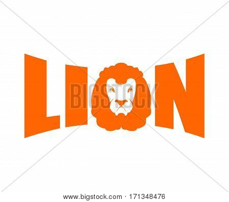 Lion Logo. Leo Emblem Lettering. Head Predator And Letters
