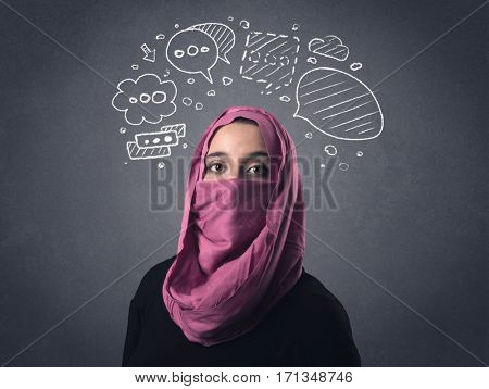 Young muslim woman wearing niqab with drawn speech bubbles above her head